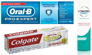 Colgate, oral b and Corsodyl toothpaste for healthy gums