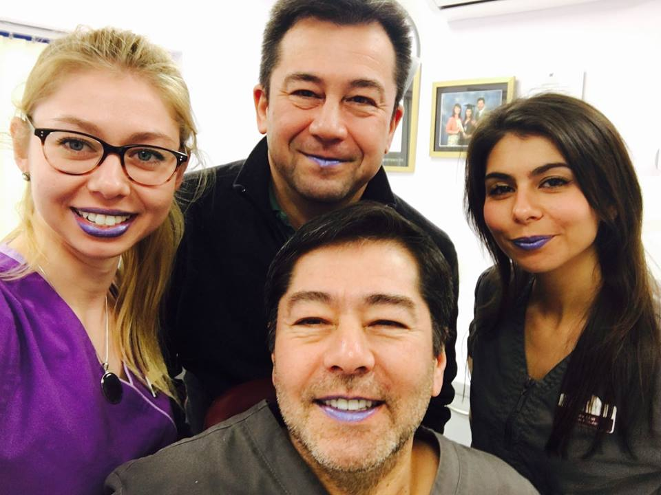 Blue lip selfie for mouth cancer awareness month at Andover Dentist