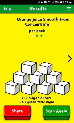 Sugar app showing how much sugar in is orange juice